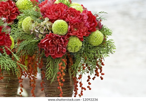 The close up view of bouquets of various flowers