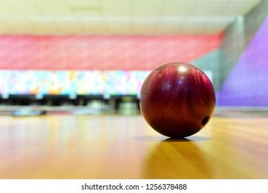 Close up view of bowling ball