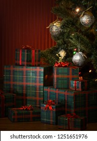 close up view  of boxes  with Christmas present on color back
