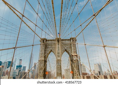 Close view of the Brooklyn Bridge in New York City, USA