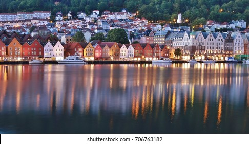 A close up view of Bryggen in the light summer night in Bergen. Norway, Scandinavia, Europe