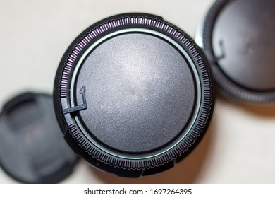 close up view of camera lens plastic cover with copy space on a