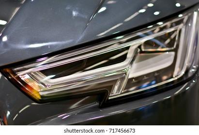 Close up view of a car headlight