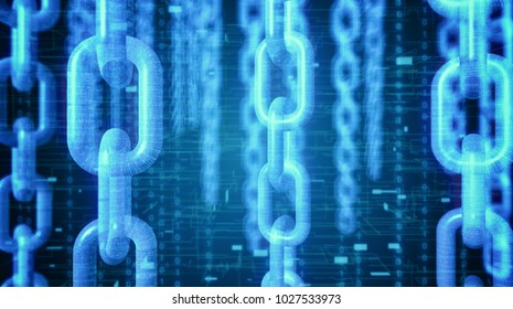 close up view of chains with tech background, concept of blockchain technology and cryptocurrencies (3d render)