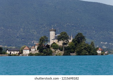 Close up view of Chateau de Duingt on Lake Annecy France
