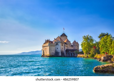 Close view of Chillon castle in the sunshine, on the lakeside of Lake Geneva, Montreux, Canton of Vaud, Switzerland