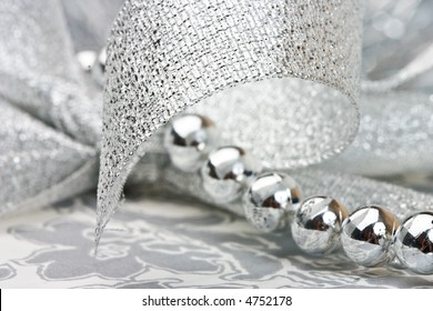 close up view of the Christmas decoration on the silver paper