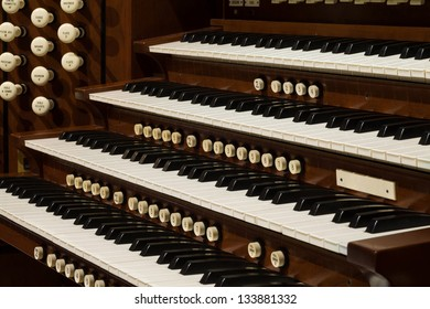 Close up view of a church pipe organ.