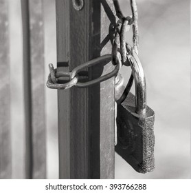 Close view of closeup  gates with old lock and chain