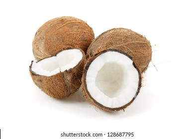 close up view of coconut on a white background