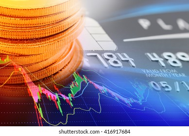 Close up view of coins, a chip on platinum credit card and basic / simple technical analysis chart of financial instruments. A concept of using physical / digital / cyber money in real life investment