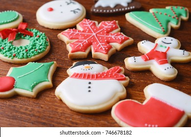 Close up view of colorful christmas cookies. Christmas concept.