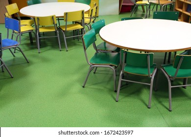 Close view of colorful round tables in primary school.