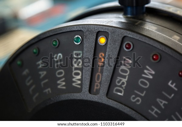 Close up view of control stick of a ship in stop position.