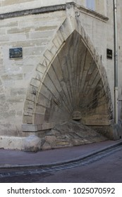 Close up view of the corner of an ancient house located in Canourgue place in Montpellier city France. Angle of the old house with a shell shape, called coquillage. Picture taken on 10th february 2018