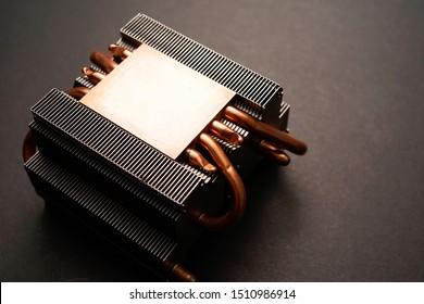 A close up view of CPU Heatsink with copper pipe