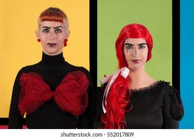 Close view of creative pop art fashion girls.