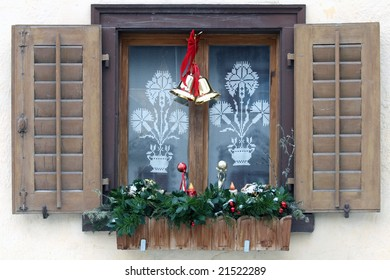 Close view of a decorated window for christmas