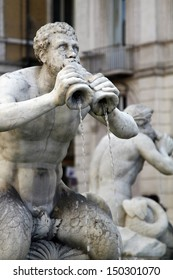 Close view details of the fountain of the four Rivers with Egyptian obelisk, located in the Piazza Navona, Rome, Italy.