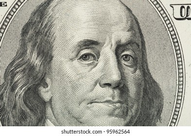 Close up view of dollar banknote