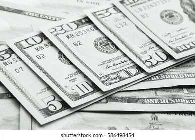Close up view of dollar banknote. Studio shot