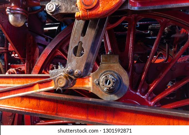 close up view of an eccentric crank of a steam engine of series 03 of the Deutsche Reichsbahn