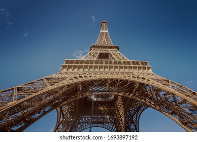A Close Up View Of Eiffel Tower In Paris, France. The Tower Was Named After The Engineer Gustave Eiffel, Whose Company Designed And Built The Tower