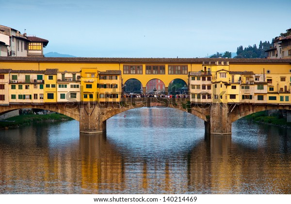 Close view in the evening of Ponte Vecchio in Florence