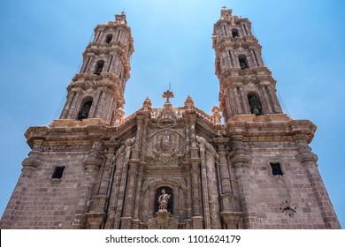 Close up view of the facade of the Metropolitan Cathedral of San Luis Potosi, Mexico. June 2015.