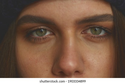 Close up view of female eyes