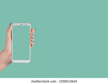 Close up view of female hands holding modern smartphone with blank green screen as if demonstrating something at it. Horizontal color photography with copyspace.