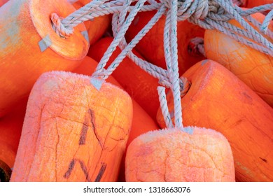 Close up view of fishing floaters. Bright Orange