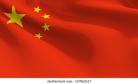 A close up view of the flag of China. Fabric texture visible at 100%.