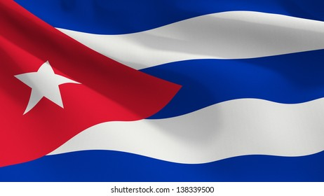 A close up view of the flag of Cuba. Fabric texture visible at 100%.