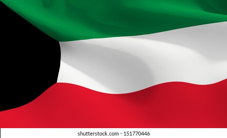 A close up view of the flag of Kuwait with fabric texture visible at 100%.