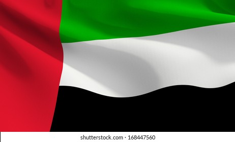 A close up view of the flag of United Arab Emirates with fabric texture visible at 100%.