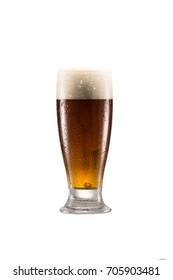 close up view of glass of fresh beer with froth isolated on white