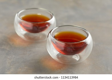 Close up view of glass tea cups