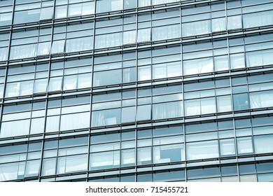 close up view of glass wall of modern building
