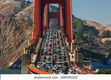 Close up view of Golden Gate Bridge traffic