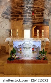 close up view of grotto of the Annunciation; city - Nazareth, country - Israel, date - 12/11/2018