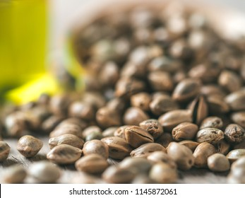 Close up view of hemp seeds and hemp oil on brown wooden table. Hemp seeds in wooden spoon and hemp essential oil in small glass bottle. Copy space for text. Shallow DOF
