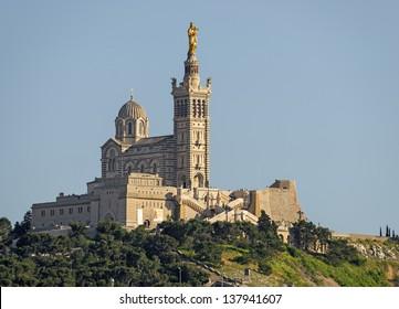 "A close view of the historic church ""Notre Dame de la Garde"" of Marseille in France"