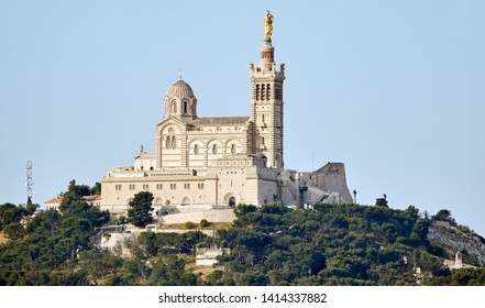 "Close view of the historic church ""Notre Dame de la Garde"" in Marseille in South France"