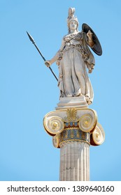 Close view of the historic statue of goddess Athena in Athens in Greece