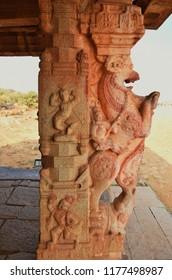 """""""Close view of the horse rider pillar of Kudure gombe (Toy horse) mandapa, Hampi, Karnataka"""""""