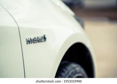 Close up view of a hybrid car