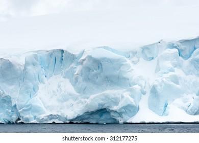 Close view of the icebergs in Antarctica
