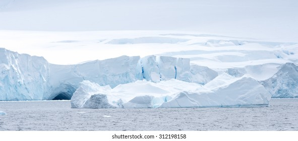 Close view of the icebergs in Antarctica