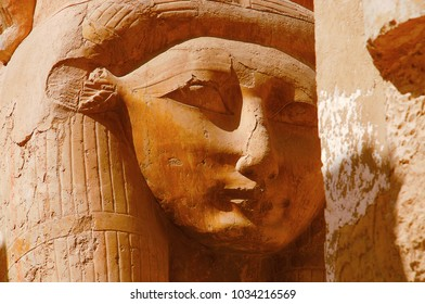 Close up view of an idol of Goddess Hathor, The cow goddess, Situated at the third floor of the Temple of Hatshepsut